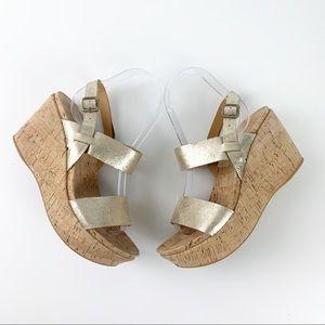 Kork-Ease Gold Metallic Austin Cork Wedge Sandals